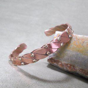 Mixed Metal Copper Cuff Bracelet, Braided Copper